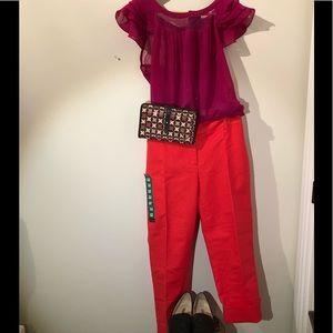 Sz12 Dalia cropped coral pants